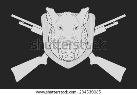 Hunting trophy. Stuffed taxidermy wild boar head with big tusks in wood shield. 2 crossed shotguns. Blackboard chalk vector illustration isolated on black - stock vector