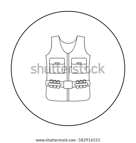 Hunting vest icon in outline style isolated on white background. Hunting symbol stock vector illustration.