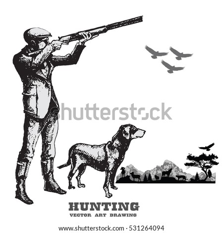 Young Man Hunting With Dog And Gun Free Images