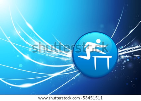 Hurdle Button on Blue Abstract Light Background Original Illustration - stock vector