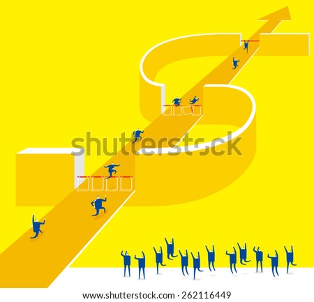 Hurdle: Overcome obstacles,be a winner. - stock vector