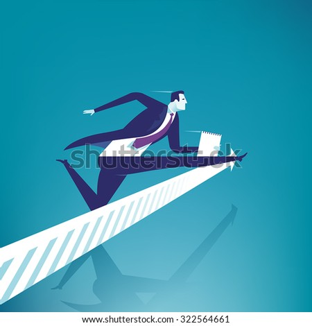 Hurdle race. Illustration of a manager jumping over arrow sign. - stock vector