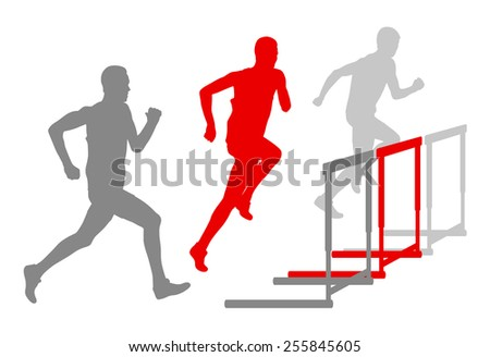 Hurdle race man barrier running vector background winner overcoming difficulties concept - stock vector