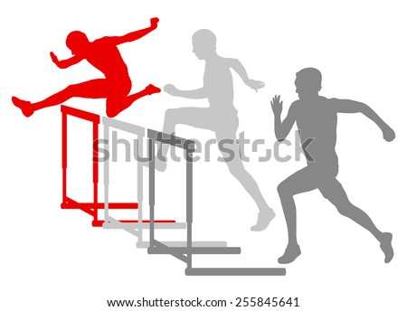 Hurdle race man barrier running vector background winner overcoming difficulties concept - stock vector