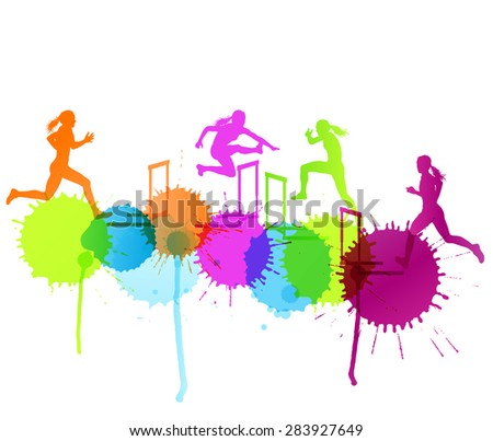 Hurdle race woman barrier running vector background winner overcoming difficulties concept with color splashes - stock vector