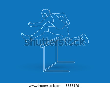 Hurdler hurdling outline graphic vector.