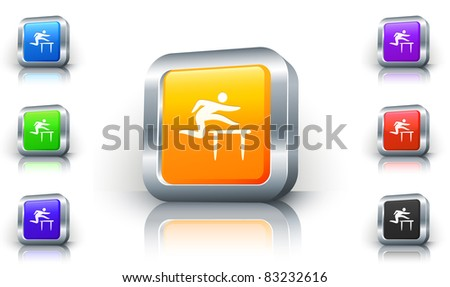 Hurdles Icon on 3D Button with Metallic Rim Original Illustration - stock vector