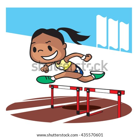 Hurdling race competition. Cartoon character. Vector illustration - stock vector