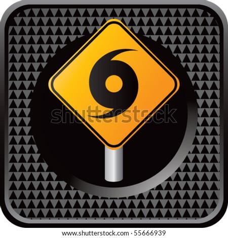 hurricane sign black checkered web button - stock vector
