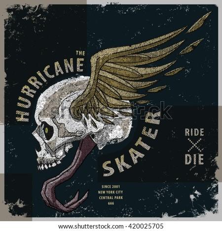 hurricane skater t-shirt graphic - stock vector