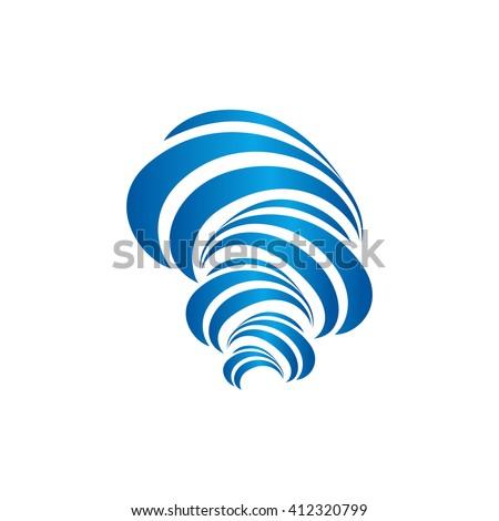 Hurricane vector blue logo. - stock vector