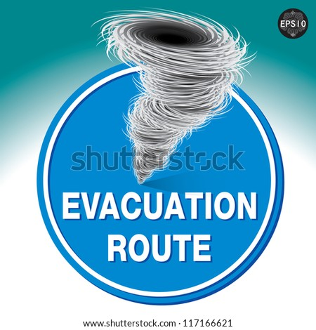Hurricane warning sign, Vector - stock vector