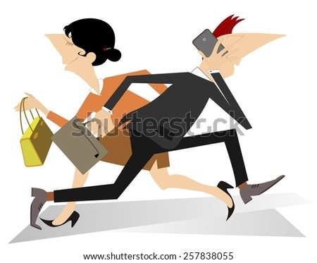 Hurry and busy man and woman - stock vector