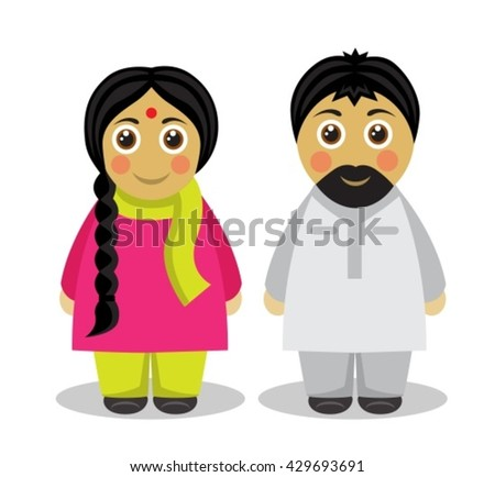 husband and wife in the national costumes of India