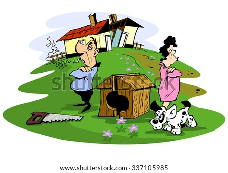 Husband and wife quarreled, illustration