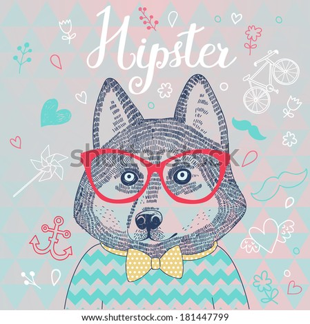 Husky hipster dog in glasses. Concept cartoon illustration in modern colors. Cute dog on seamless pattern. Childish card in vector. - stock vector