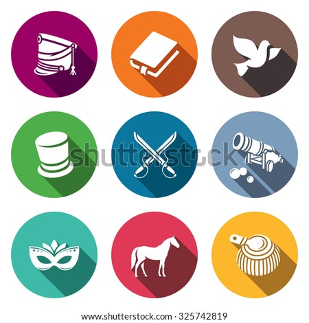 Hussars. The novel War and Peace icons set. Vector Illustration. - stock vector