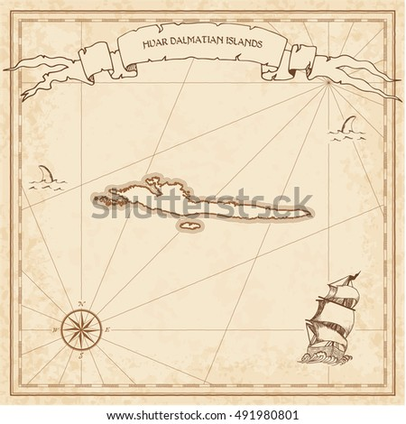 Hvar & Dalmatian Islands old treasure map. Sepia engraved template of pirate island parchment. Stylized manuscript on vintage paper.