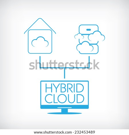 Hybrid cloud computing technology concept with private and public data storage. Eps10 vector illustration - stock vector