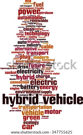 Hybrid vehicle word cloud concept. Vector illustration - stock vector