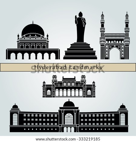 Hyderabad landmarks and monuments isolated on blue background in editable vector file