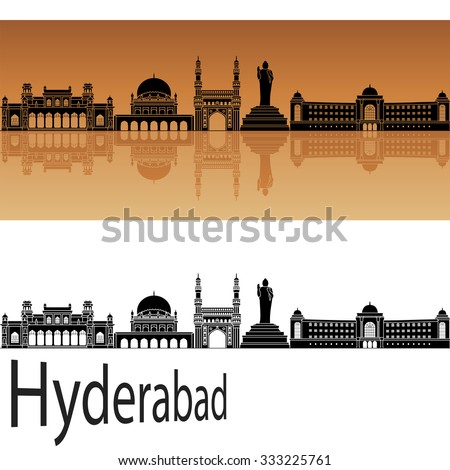 Hyderabad skyline in orange background in editable vector file - stock vector