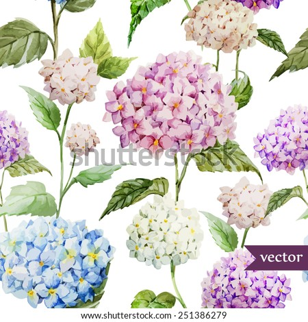 hydrangea, pattern, watercolor,  - stock vector