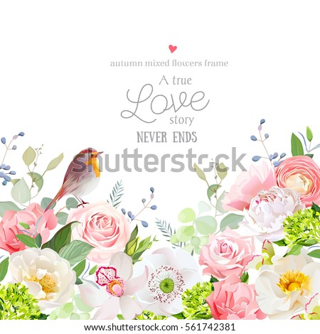 Hydrangea, rose, peony, poppy, orchid, carnation and robin bird vector design card. Botanical style frame with mixed flowers on white Elegant floral background. All elements are isolated and editable