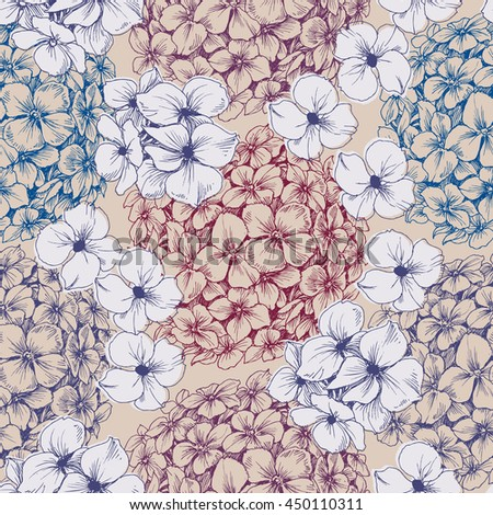 Hydrangea seamless pattern. Retro floral background - stock vector