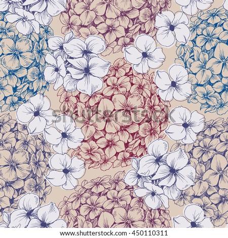 Hydrangea seamless pattern. Retro floral background - stock vector