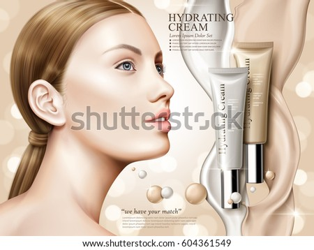 hydrating cream contained in cosmetic tubes with model and flow effect, bokeh background, 3d illustration