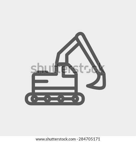 Hydraulic excavator truck icon thin line for web and mobile, modern minimalistic flat design. Vector dark grey icon on light grey background. - stock vector