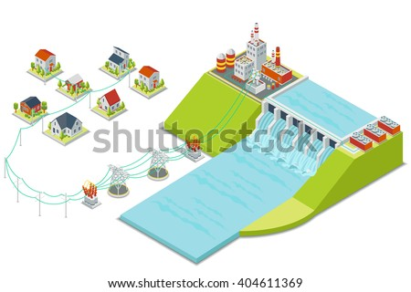 Hydro power plant. 3D isometric electricity concept. Energy electric, alternative hydroelectric, hydro turbine, vector illustration - stock vector