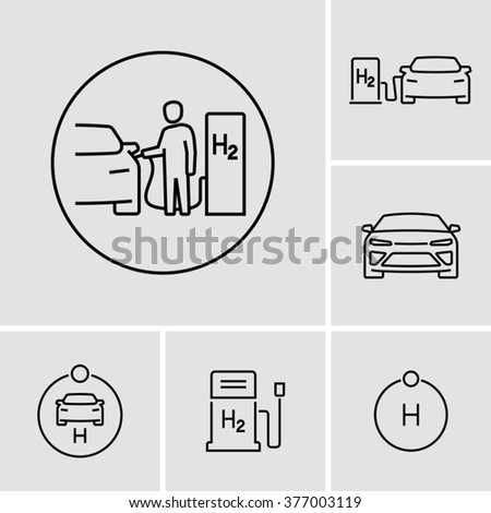 Hydrogen Car Station Icons  - stock vector
