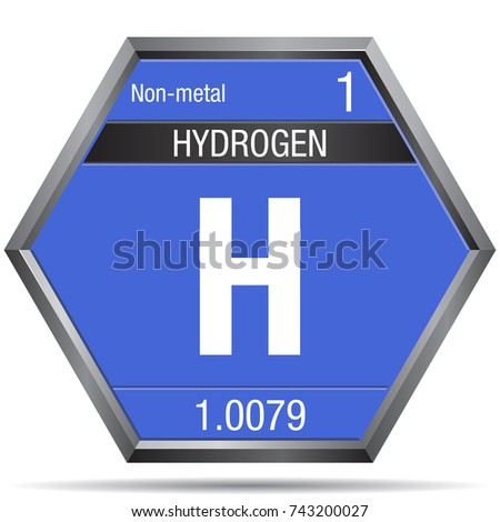 Hydrogen Symbol Form Hexagon Metallic Frame Stock Photo Photo