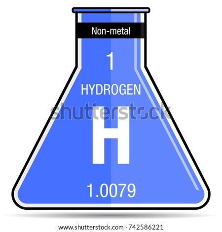 Hydrogen symbol on chemical flask element stock vector 742586221 hydrogen symbol on chemical flask element number 1 of the periodic table of the elements urtaz Gallery