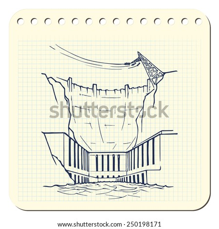 Hydropower plant as an example of relatively clean but environmentally damaging way of generating electricity EPS8 vector illustration in a sketchy style imitating scribbling in the notebook or diary. - stock vector