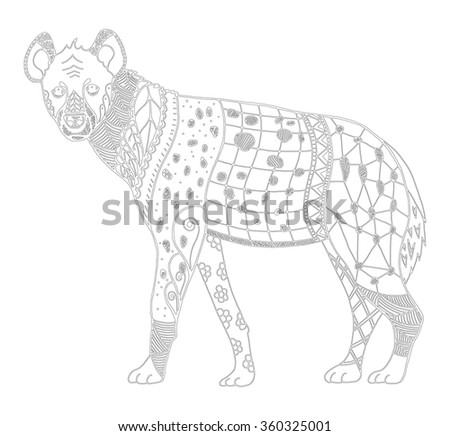 hyena zentangle stylized vector illustration freehand pencil hand drawn adult anti