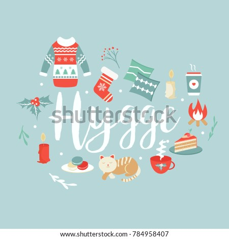 Hygge background cozy things elements danish stock vector 784958407 hygge background with cozy things and elements danish living concept greeting card template m4hsunfo