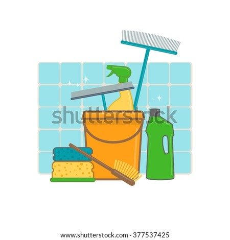 Hygiene and cleaning products in flat style - stock vector