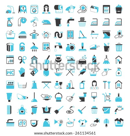 hygiene and cleaning service icons - stock vector