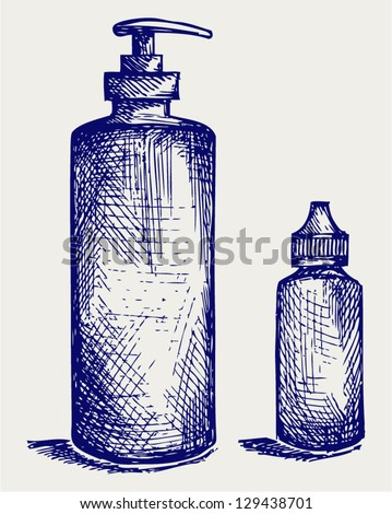 Hygiene products in plastic bottles. Doodle style - stock vector