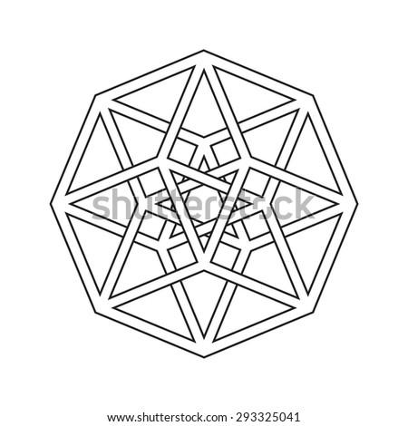 Hypercube, tesseract, geometric symbol, line design - stock vector