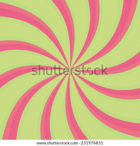 Hypnosis Spiral. Concept for hypnosis, unconscious, chaos, vortex. Candy cane sweet spiral abstract background - stock vector