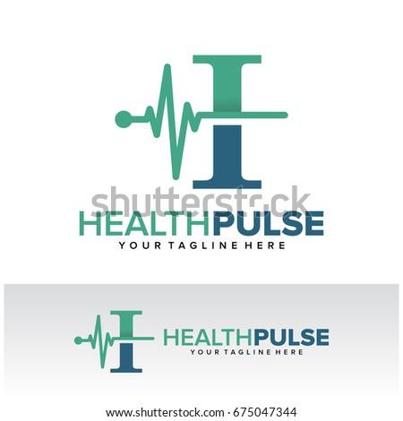 I Health Pulse Letter Logo Template Design Vector Emblem Concept Creative Symbol