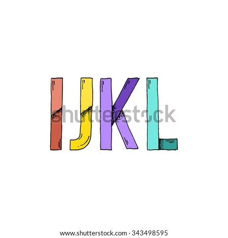 I J K L Cartoon Style Hand Drawn Font - Doodle Illustration Alphabet with Stipple Shadows - Infographic and Typography Resource