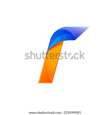 I letter blue and Orange logo design Fast speed design template elements for application. - stock vector