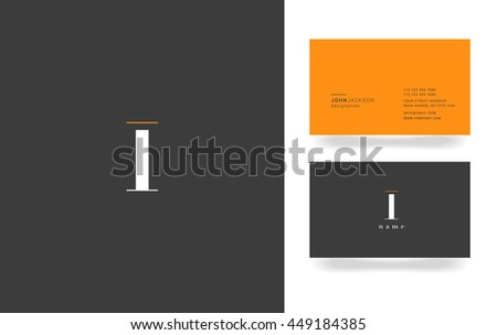 I Letter Logo, Icon, with Business Card Template Vector