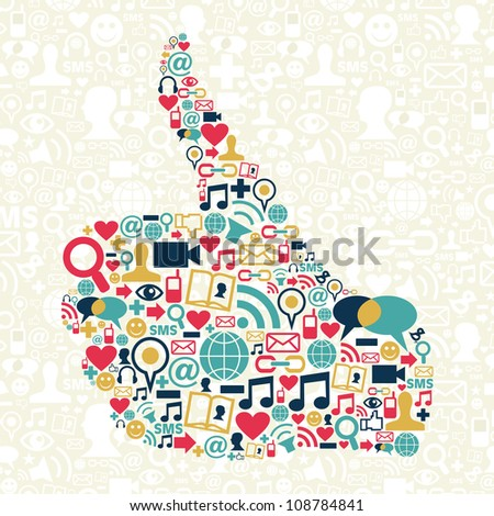 I like Social media hand over networks icon texture background. Vector file layered for easy manipulation and custom coloring. - stock vector