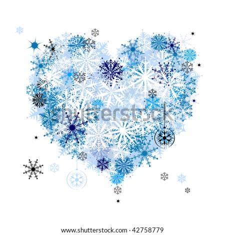 I like winter! Heart shape of snowflakes - stock vector